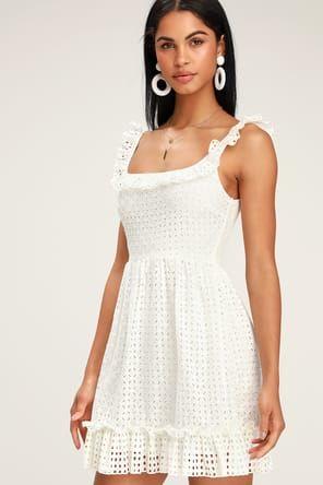 e6662c6850 Lulus | Waverly White Lace Lace-Up Midi Dress | Size Large | 100 ...