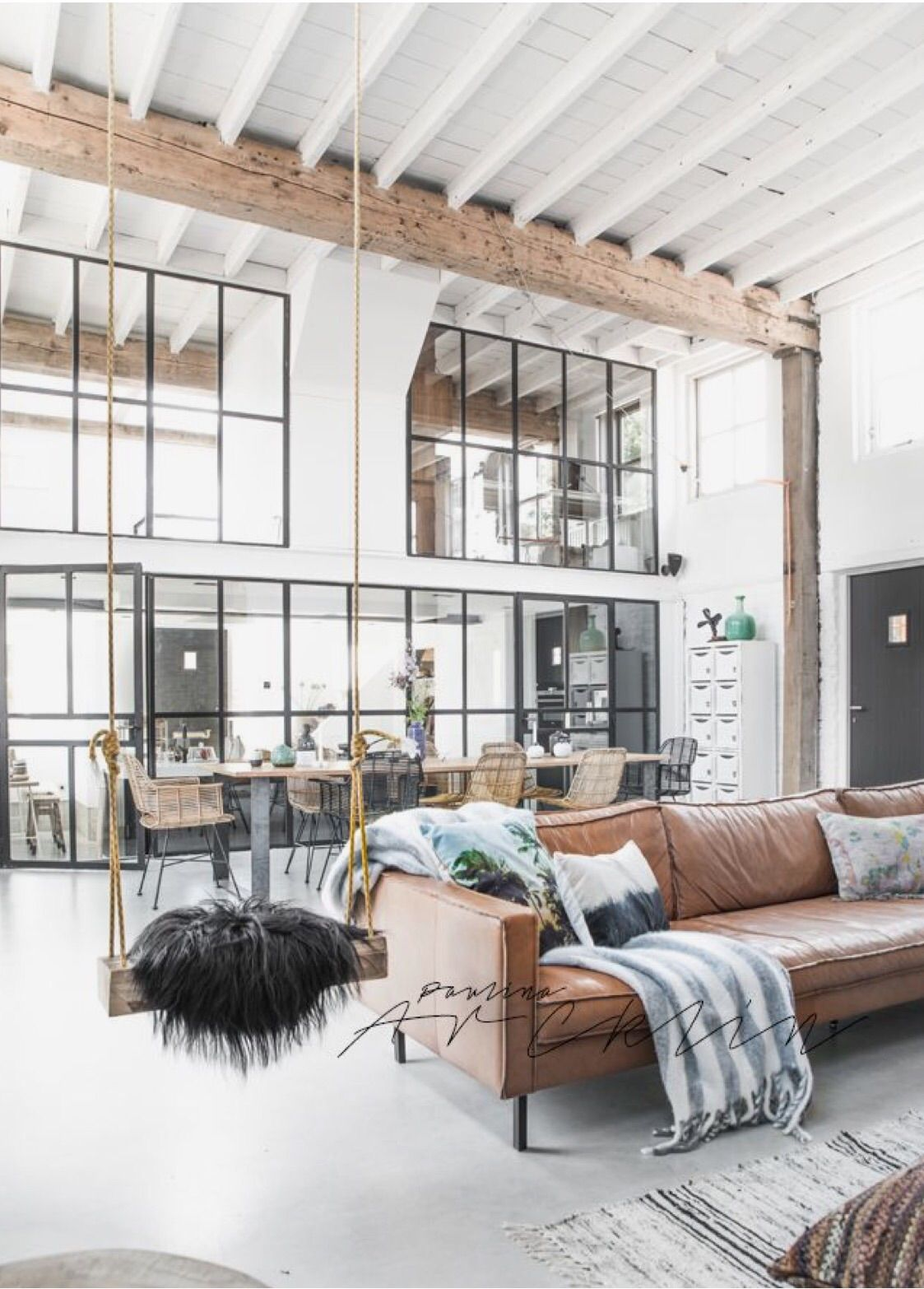 Tan leather sofa large interior space high ceilings | EPIPLA ...