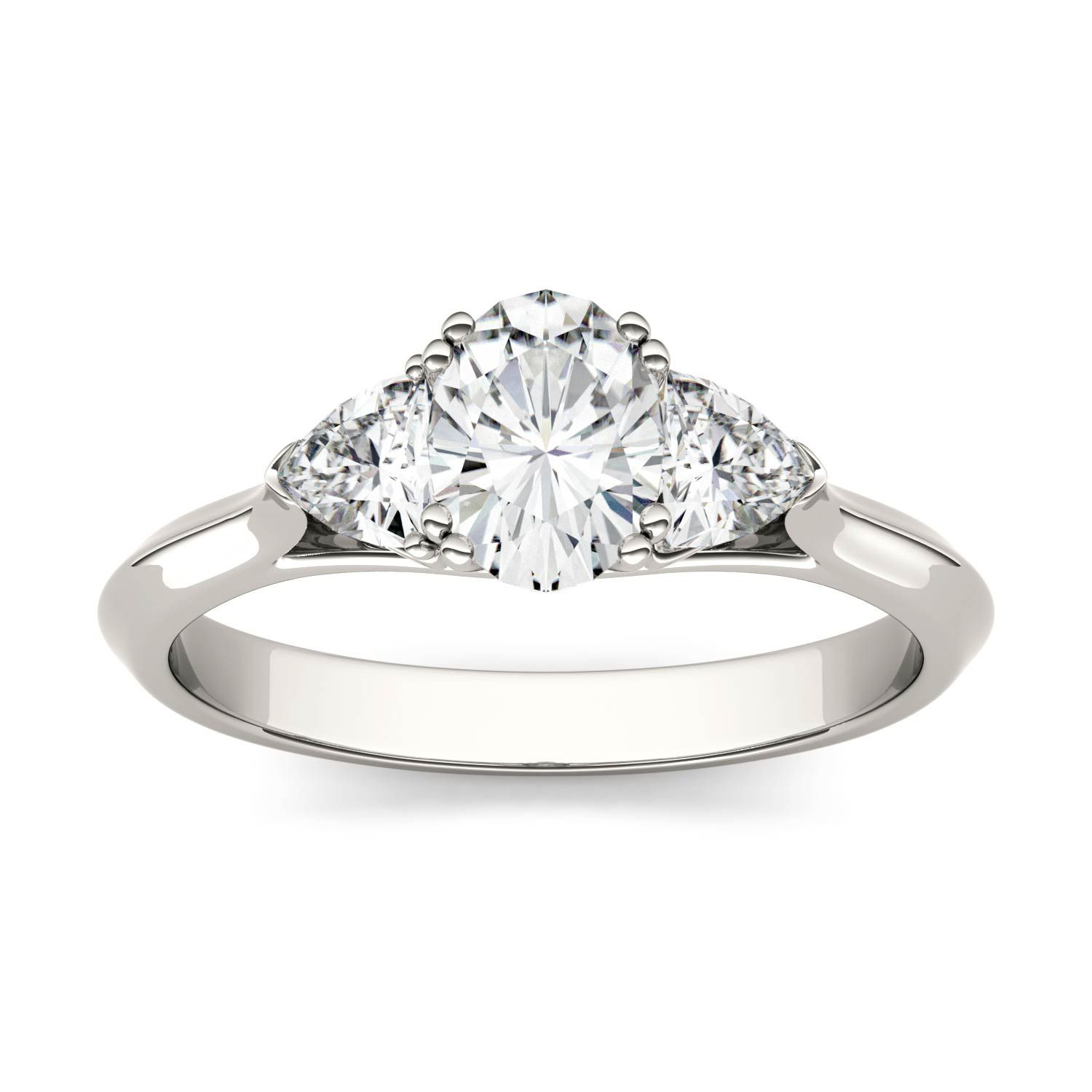 8fc8f766728c9 0.9ctw DEW Oval Forever One Near-Colorless (GHI) Moissanite Three ...