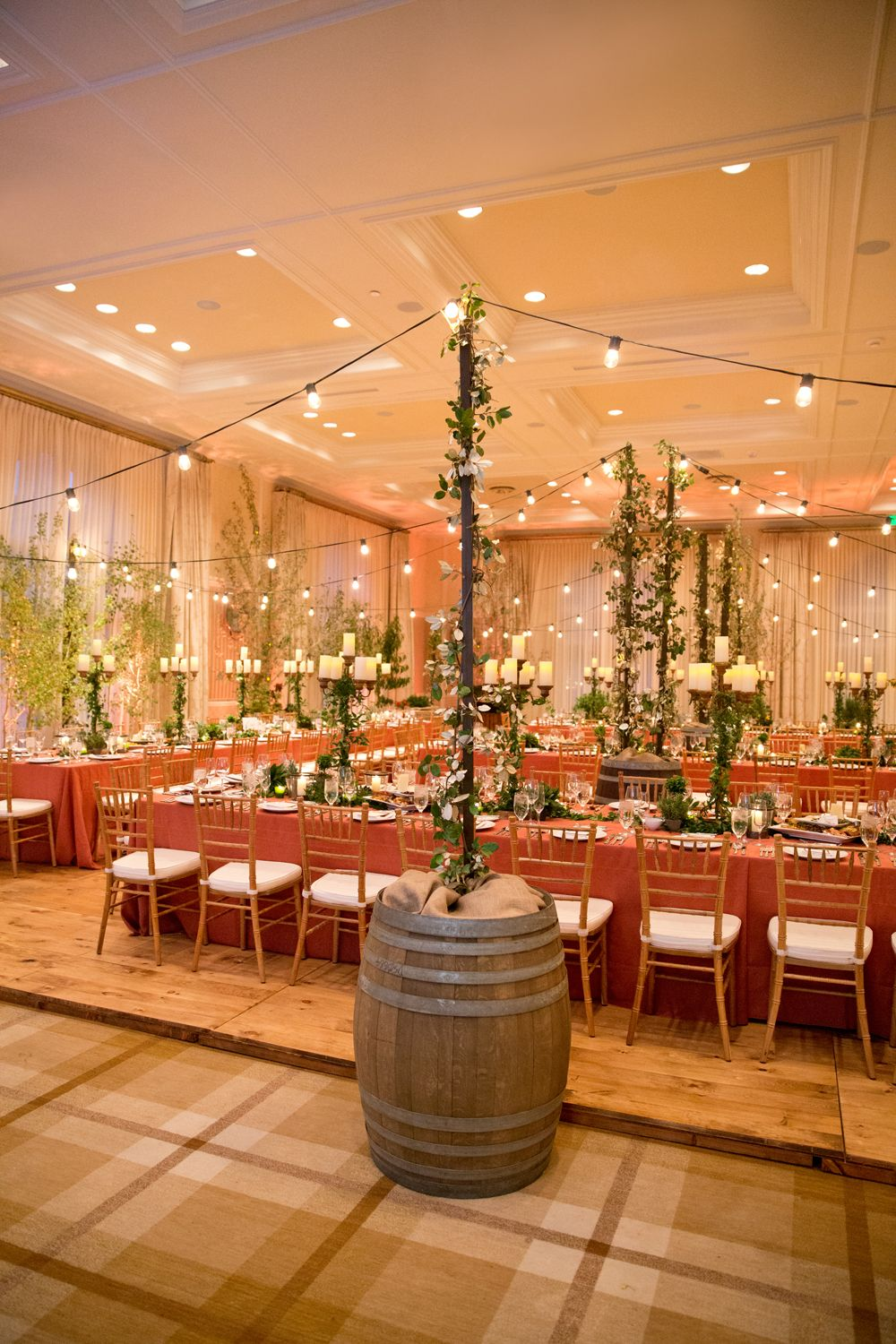 Fall Wedding Reception Dinner Rustic Country Wine Barrels Orange