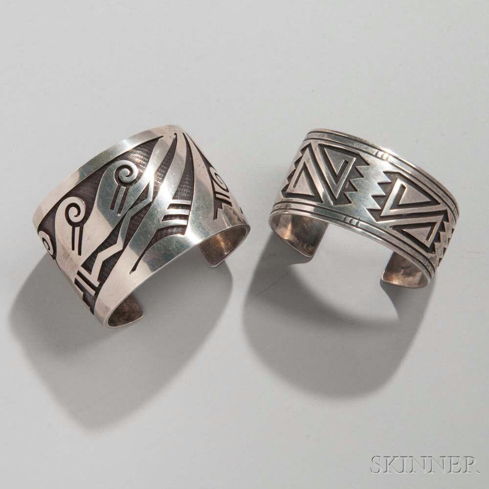 Two Hopi Silver Bracelets