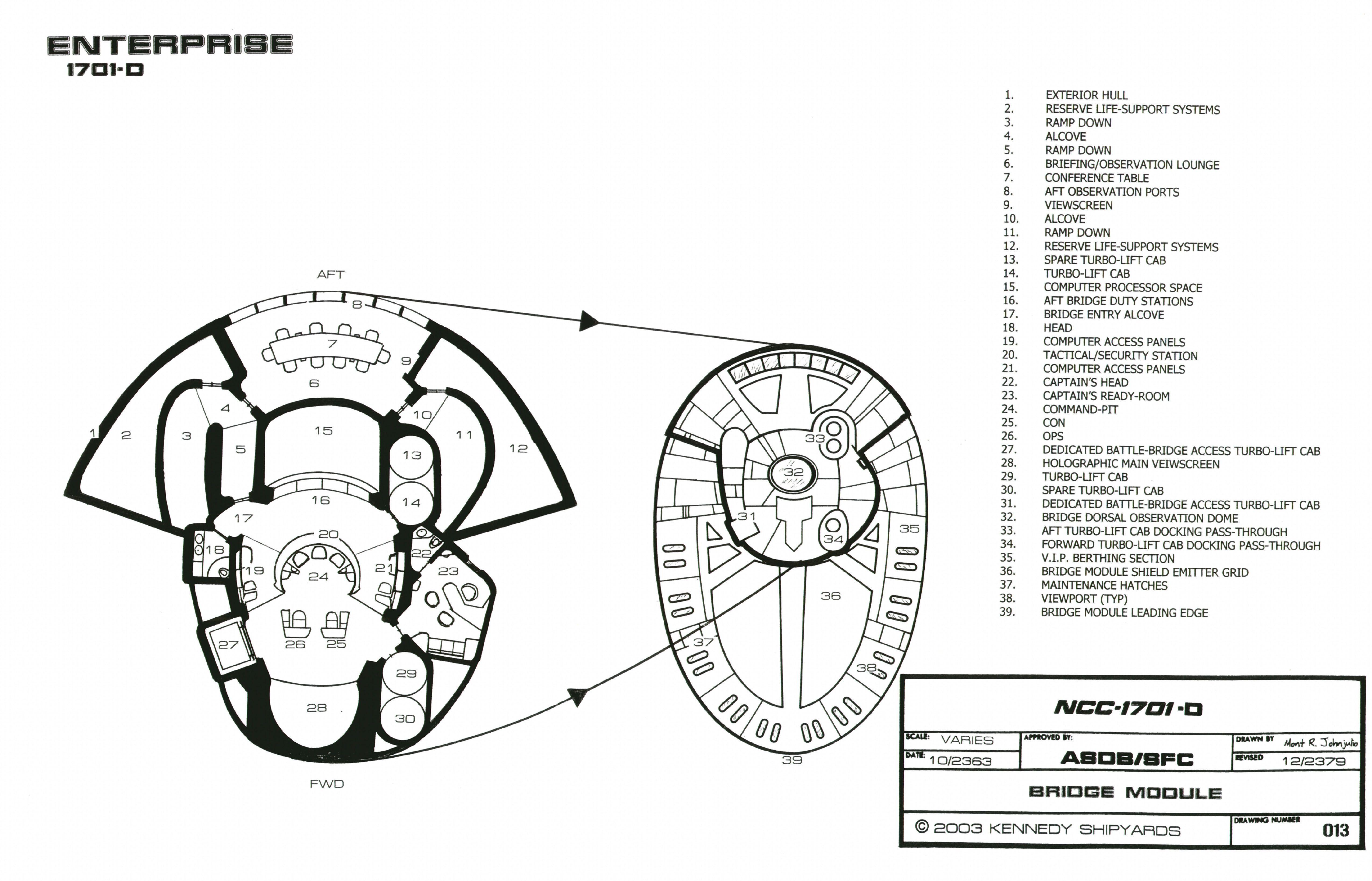 Schematic Of U S S Enterprise Ncc D