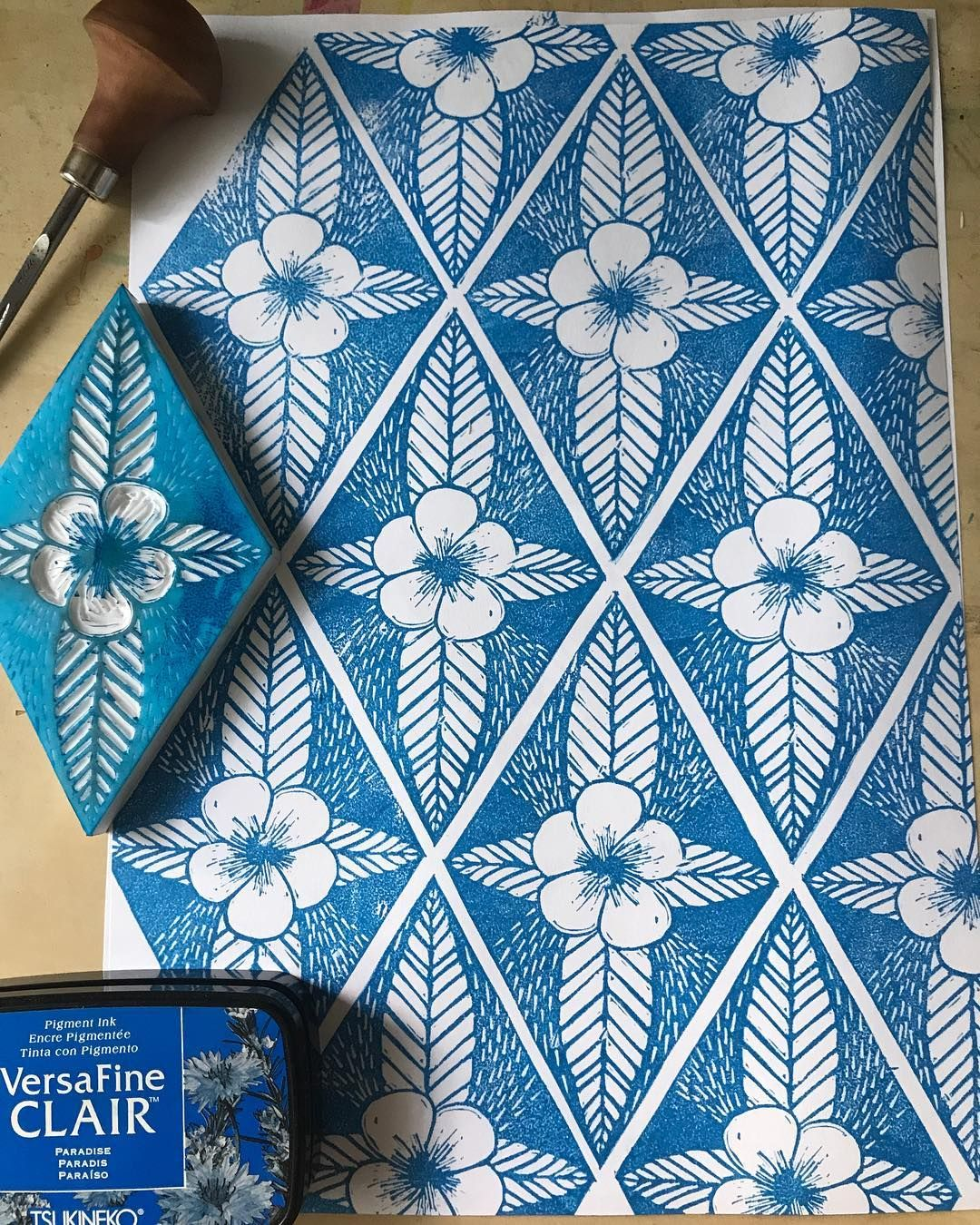 Linoleum Print Which Can Easily Be Used To Create A Repeating
