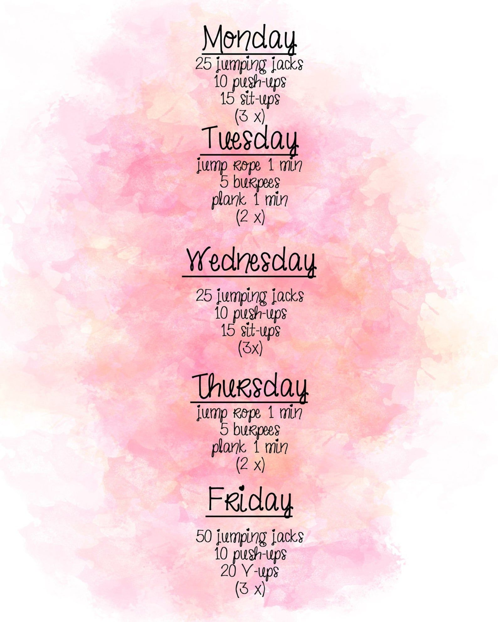 Simple weekly workout sheet