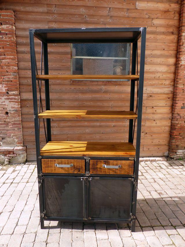 Cr ation sur mesure meuble bois m tal tag re biblioth que for Meuble exterieur metal