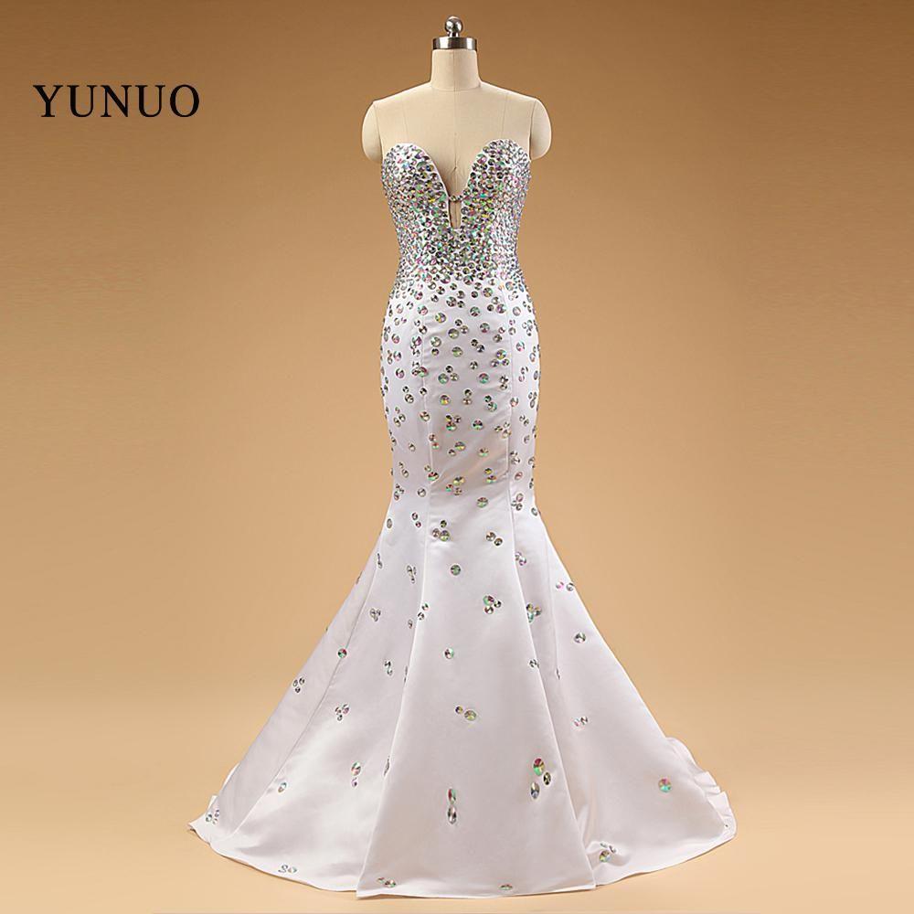 High quality bling crystal mermaid prom dresses lvory floorlength