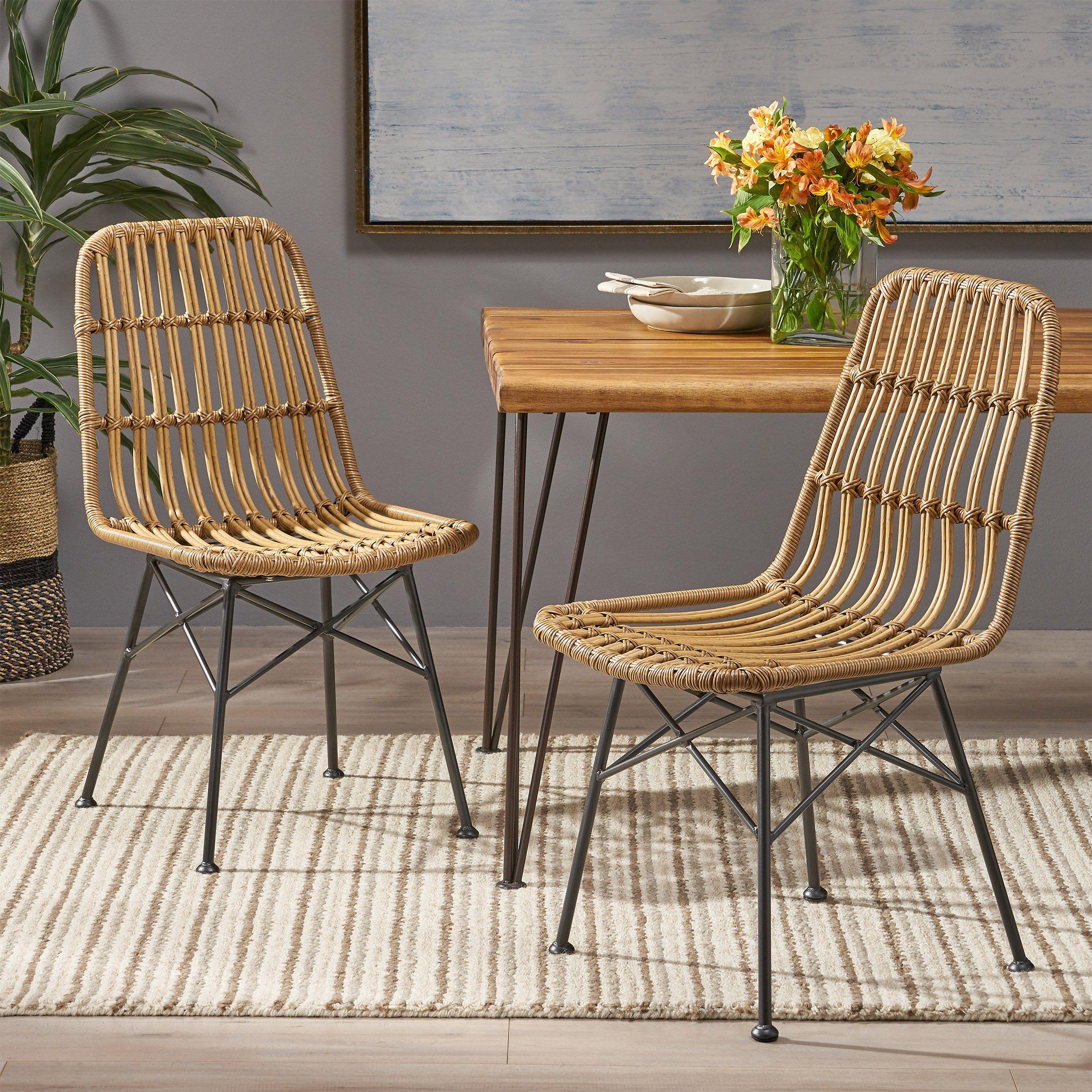 Silverdew Indoor Wicker Dining Chairs (Set of 2) - Light Brown