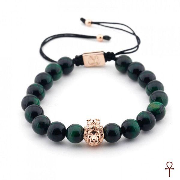 Green Tiger Design Beaded Bracelets #exclusive #gold #green #rope #silver #tiger #tigerseye #bracelet #menstyle #menfashion