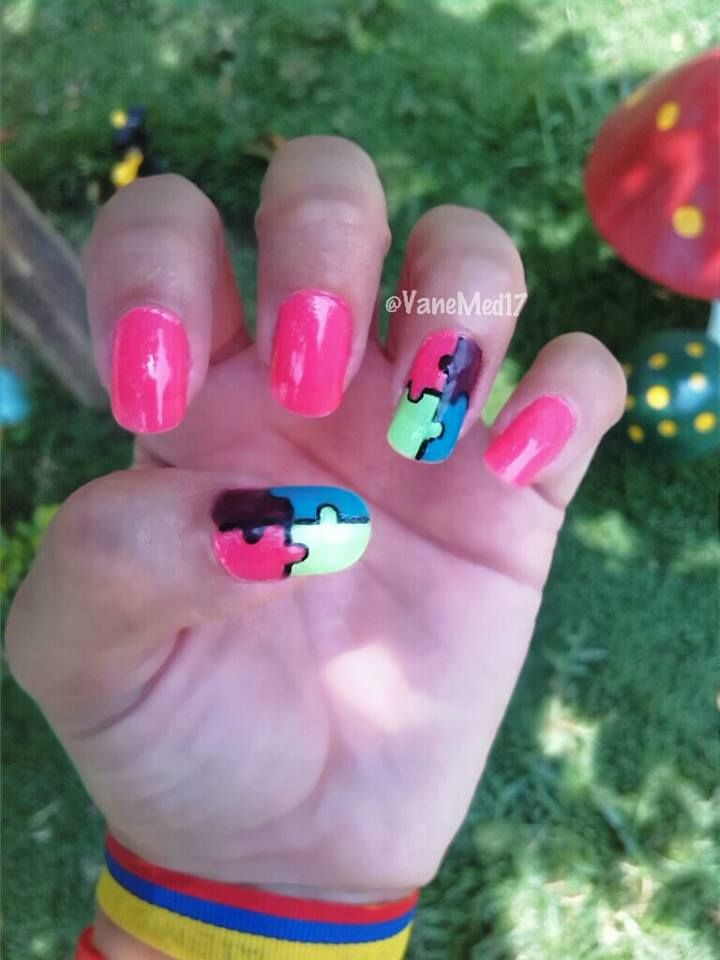 Uñas Rompecabezas! #nail #art #puzzle   Mis uñitas!!   Pinterest