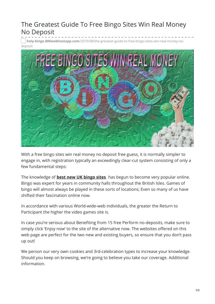Real Money Bingo No Deposit
