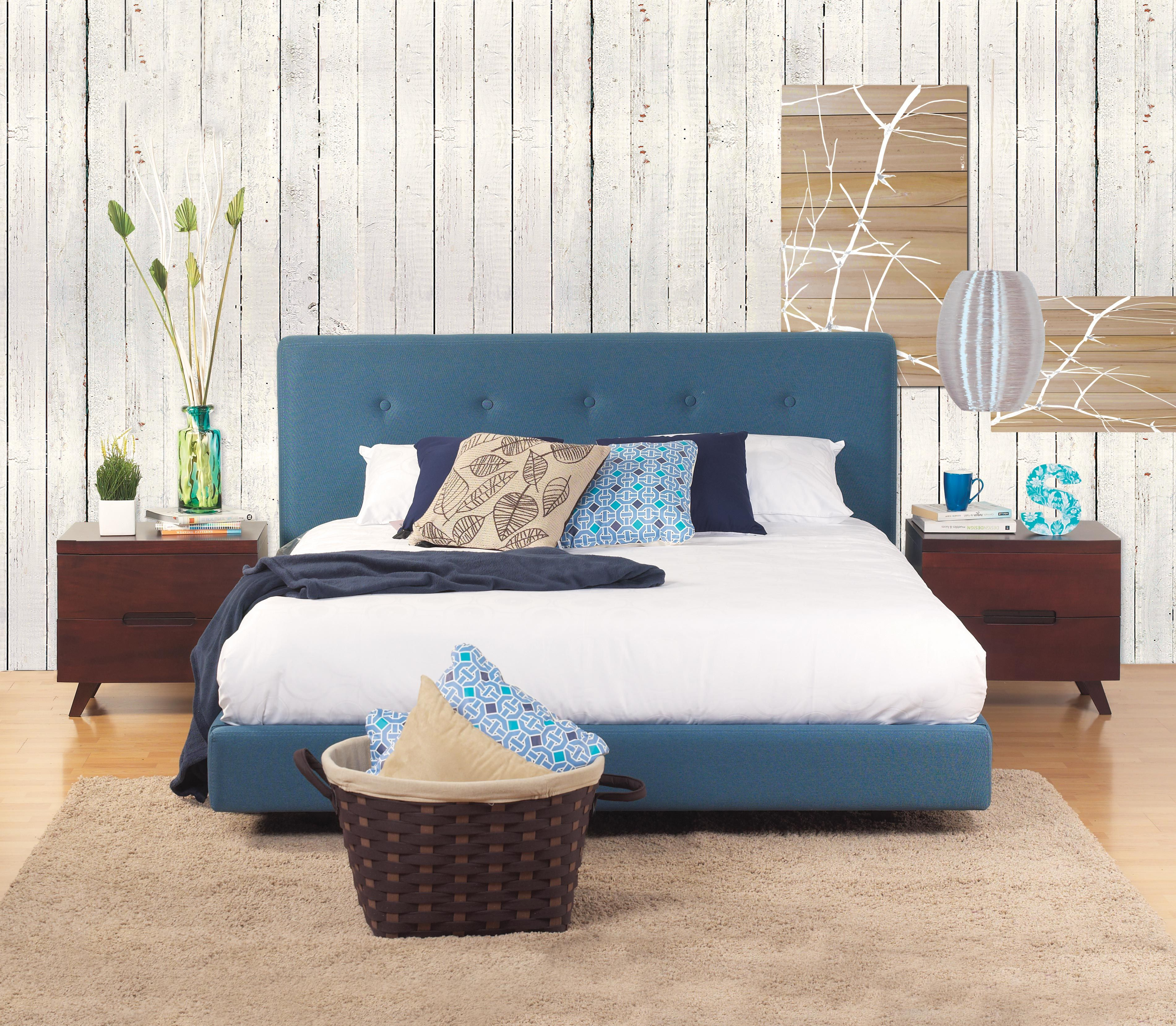 Cama Vintage Extra Doble Tapizado Azul | Habitat Store | Espaldar ...
