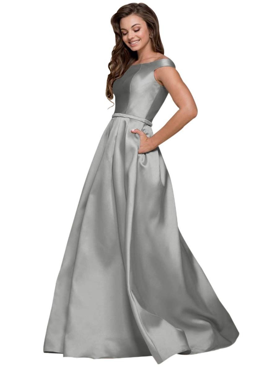 726077f46ed Women s A-line Off The Shoulder Satin Prom Dress with Pockets Long Formal  Evening Gown