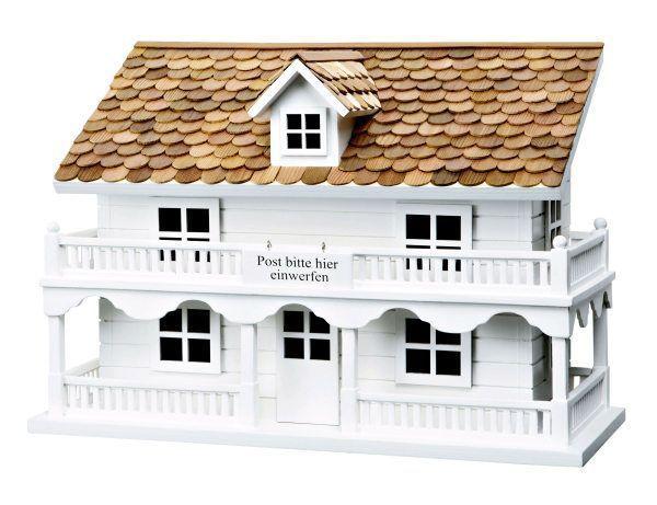 briefkasten villa wei holz landhaus wandbriefkasten postkasten nostalgie neu vogelhuisjes. Black Bedroom Furniture Sets. Home Design Ideas