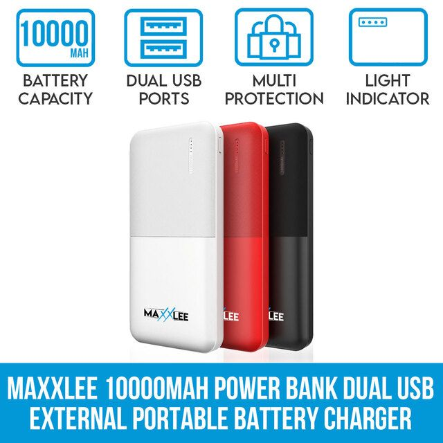 Maxxlee 10000mAh Power Bank Dual USB Output