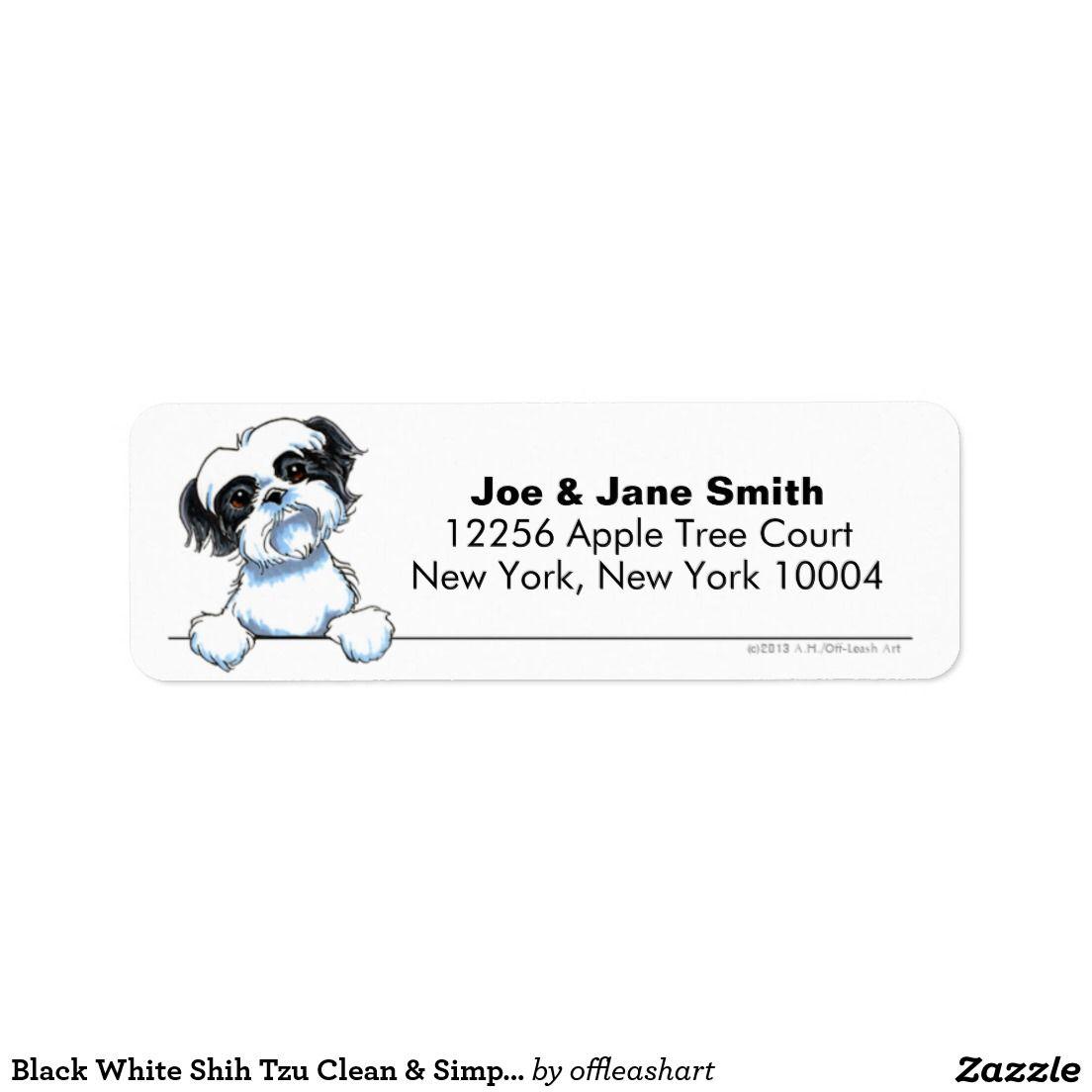 Black White Shih Tzu Clean Amp Simple Label
