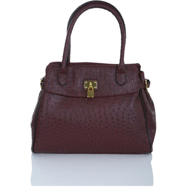 Ostrich Effect Burgundy Bag ($68) ❤ liked on Polyvore