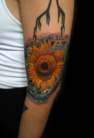 Water Sunflower tattoo by Andres Acosta