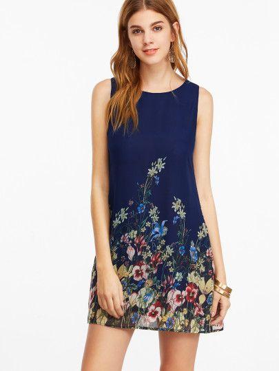 df2a85c611 Vestido sin mangas con estampado floral - azul marino