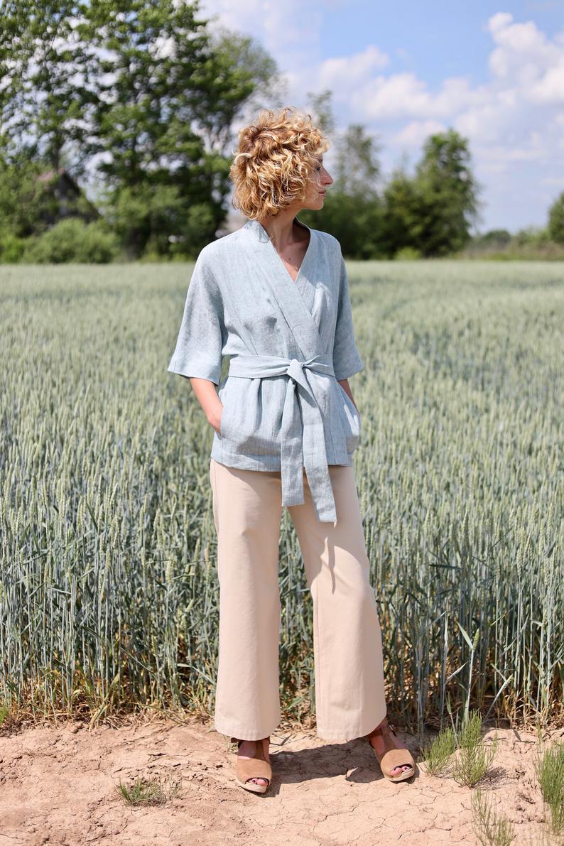 Linen jacketKimono style jacketLinen wrap jacketOFFON CLOTHING