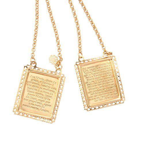 Vika Jewelry 18k Gold Plated Prayer Scapular With Lord S Prayer And Our Lady Prayer Vika Jewelry From Bra Acessorios Femininos Acessorios Our Lady