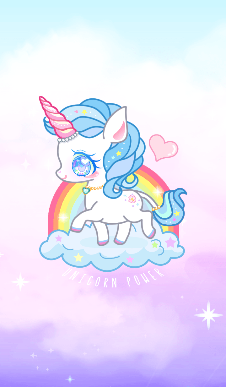 Blue Unicorn Power Kawaii Unicorn Unicorn Wallpaper Unicorn