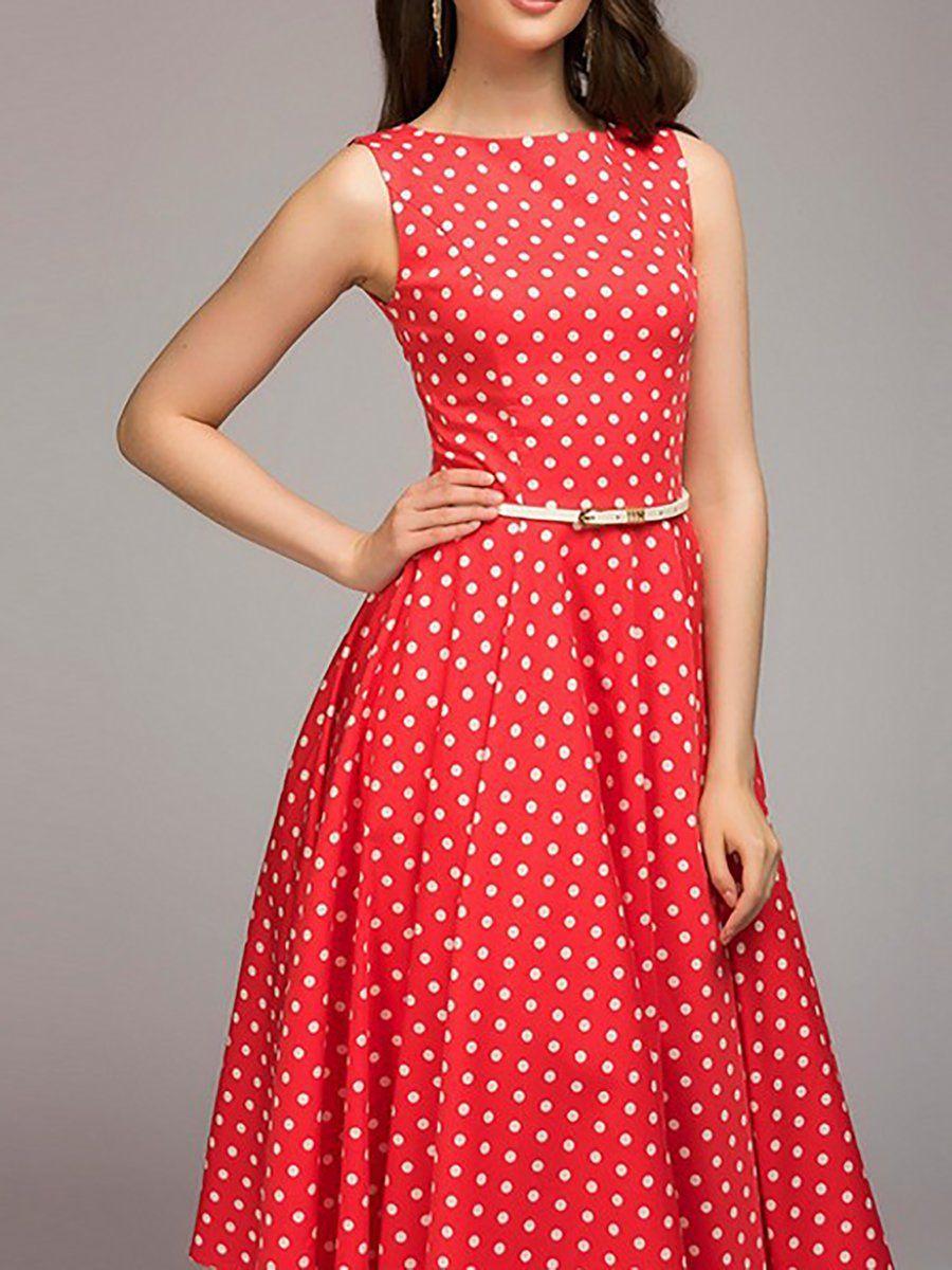 015a6d65182 Swing Women Daytime Sleeveless Paneled Polka Dots Prom Dress  dress  date   daily  office  casualdress  longdress