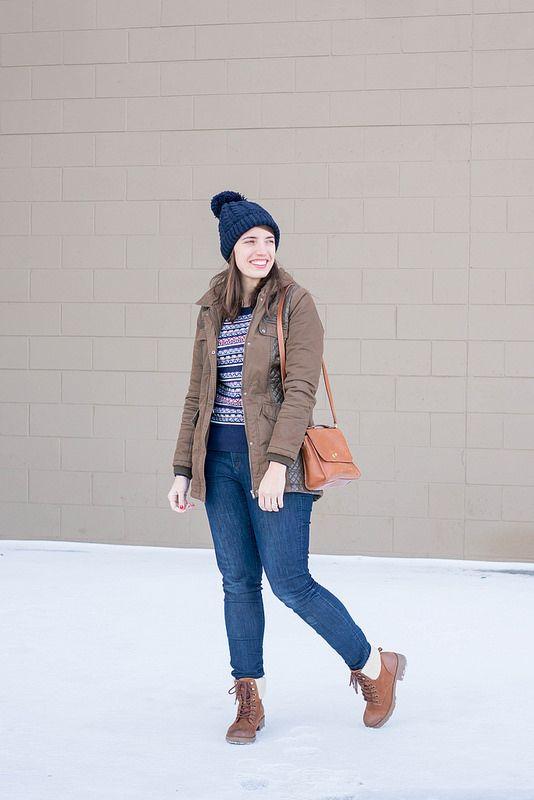 green parka   Target fair isle sweater   jeans   brown hiking ...