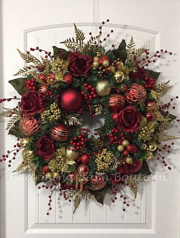 christmas wreath winter wreath elegant christmas holiday wreath evergreen wreath red and gold wreath holiday decor christmas decor by - Elegant Christmas Wreaths