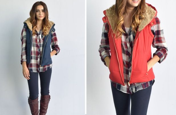Fluffy Collar Hooded Vest - 4 Colors! - Main Photo