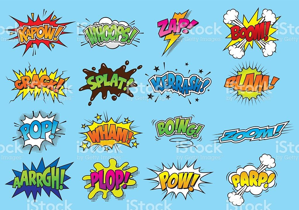 sixteen brightly coloured sound effect graphics using hand drawn