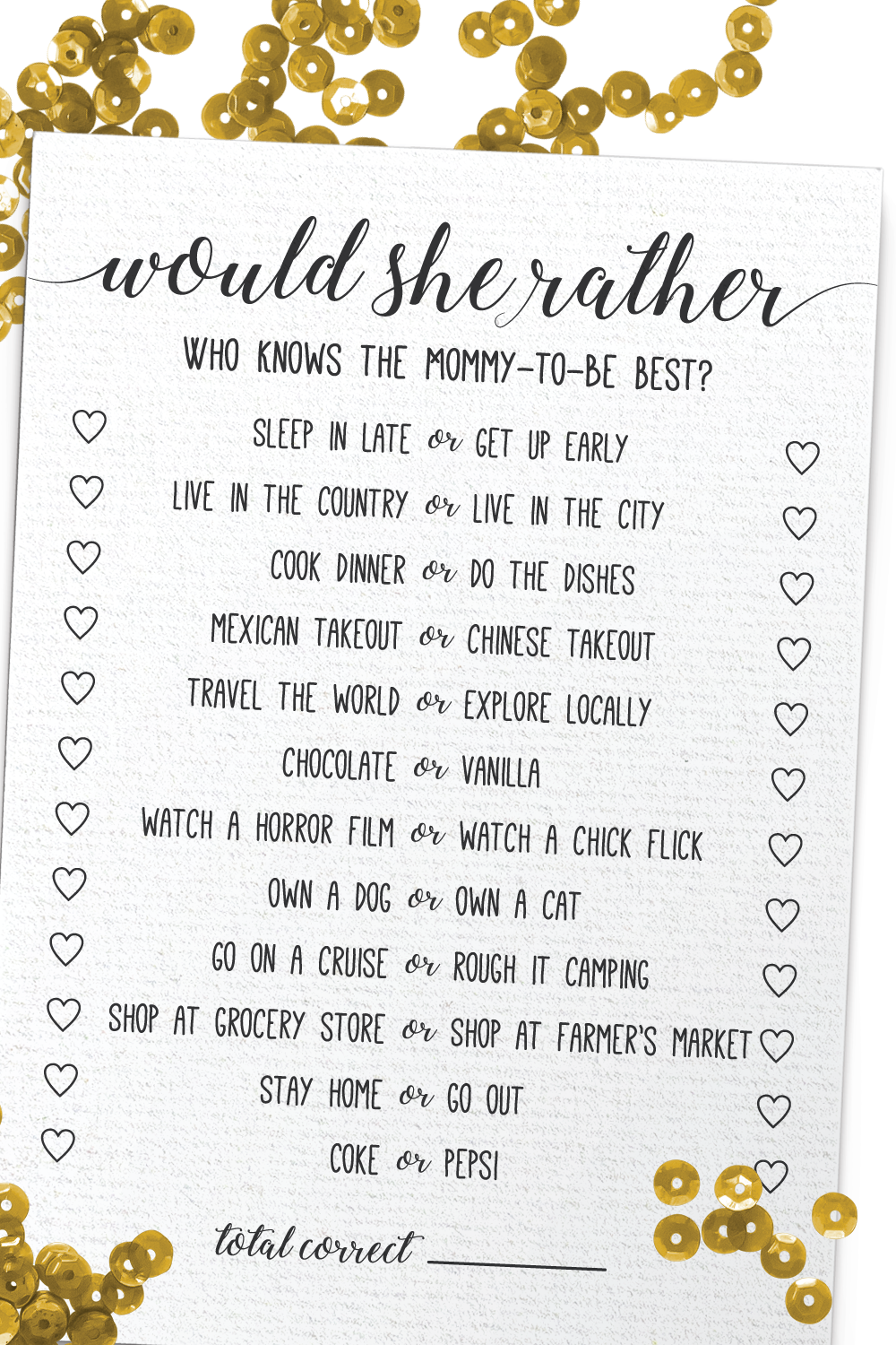 Would She Rather Baby Shower Game Would She Rather Who Knows Mommy Best Baby Shower Games Rustic Baby Shower Activity Baby Shower Games Unique Diy Baby