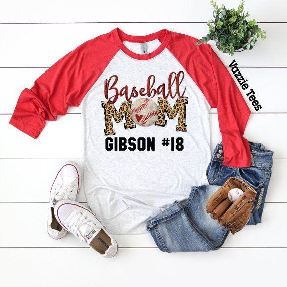92290ad20 Baseball Mom - Personalized - Unisex Adult Raglan Shirts - Baseball Mom  Leopard Print - Baseball Lif