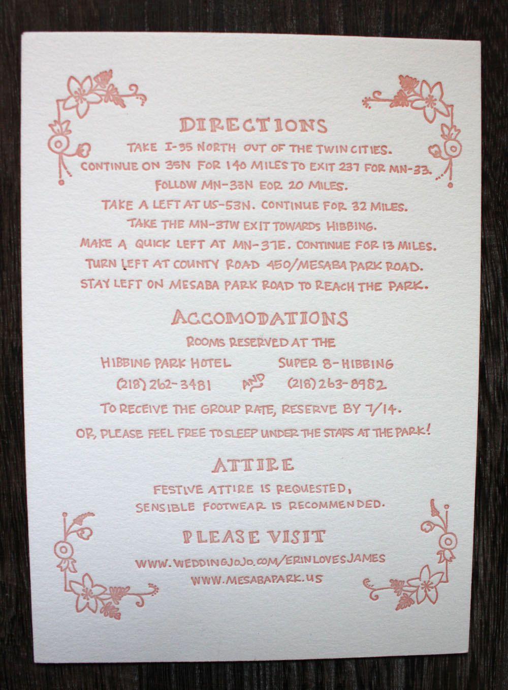 Erin letterpress wedding invitation suite via etsy