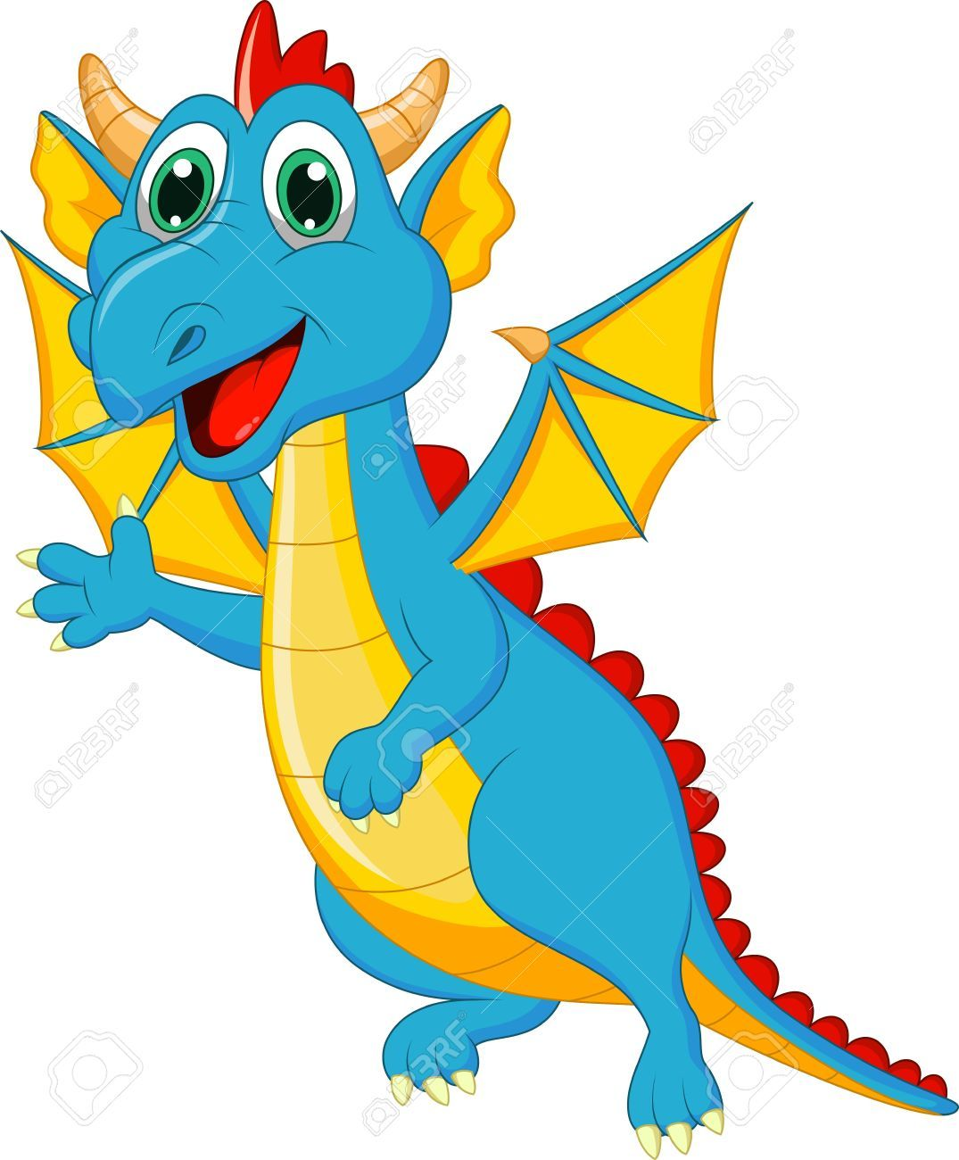 Dragon stock. Vector pictures cute dragons
