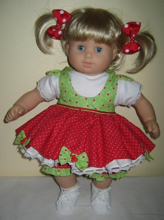Cherries and Bows Doll Clothes made to fit Bitty Baby Twin Girl ...