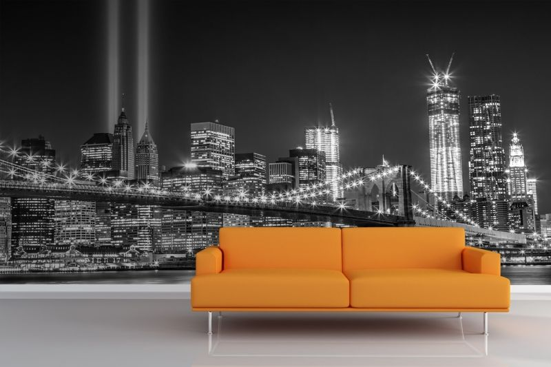 Greyscale NY Trade Centre Lights Mural, Made To Suit Your Wall Size By The  UKu0027s For Murals. Custom Design Service And Express Delivery Available. Photo
