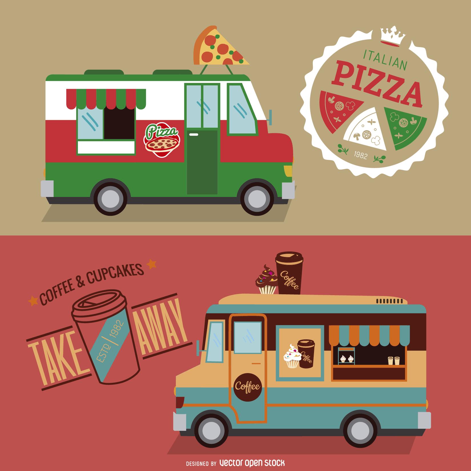 Food Truck Design Set Free Vector