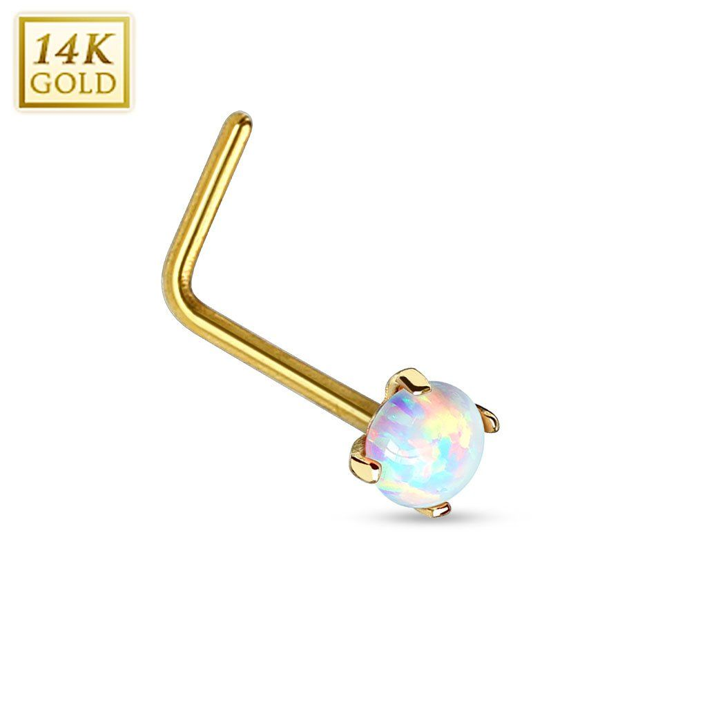 Cute nose piercing jewelry  Prong Set Opal K Solid Gold L Bend Nose Stud Ring in