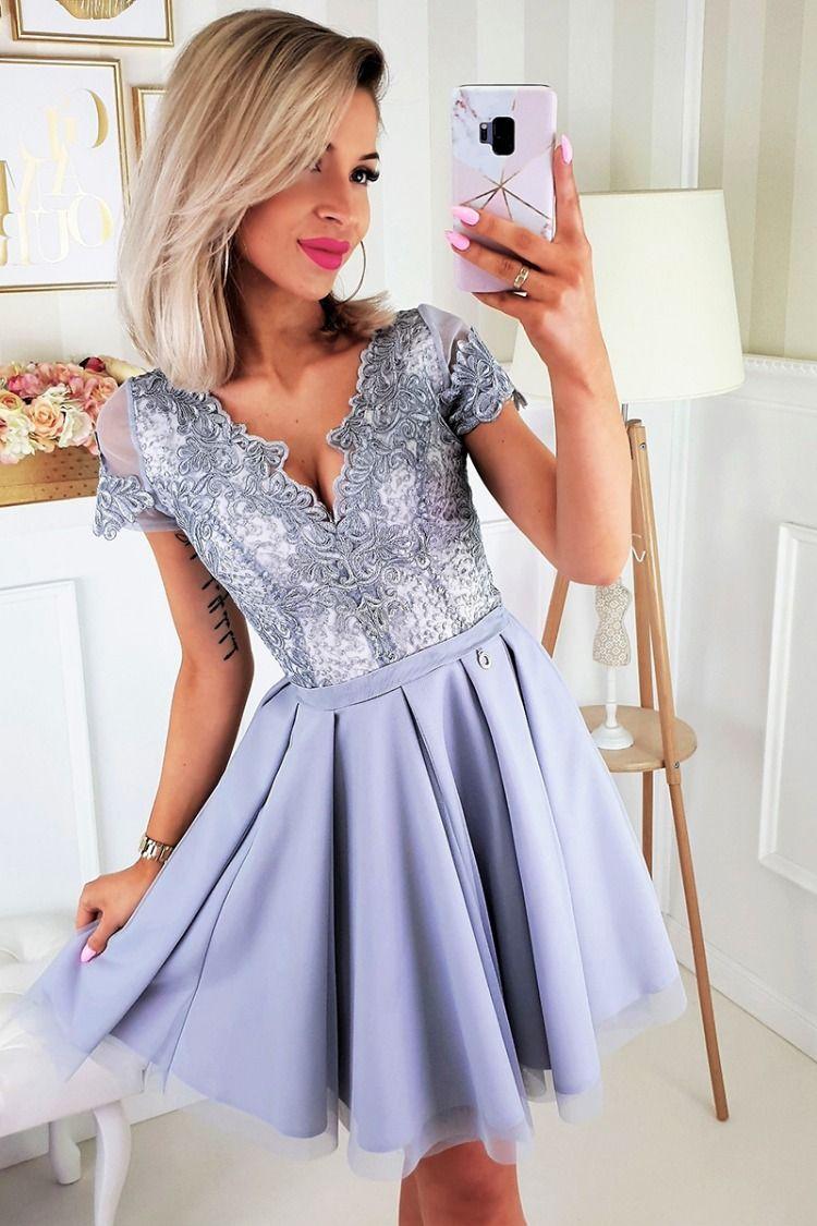 e5ddbb4d Szara sukienka koronkowa z tiulem Piękna sukienka wykonana z ...