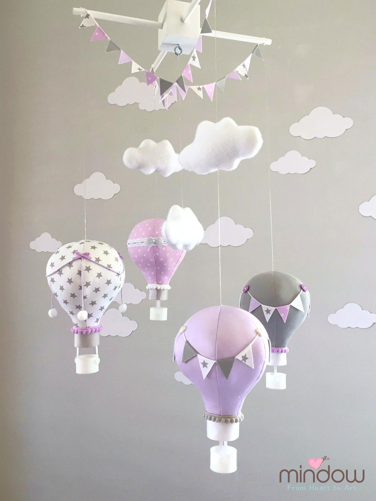 Hot air balloon mobile purple lavender מובייל כדורים