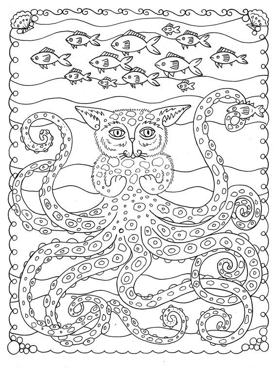 5 pages Fantasy Cats Instant downloads Scarry halloween/coloring ...