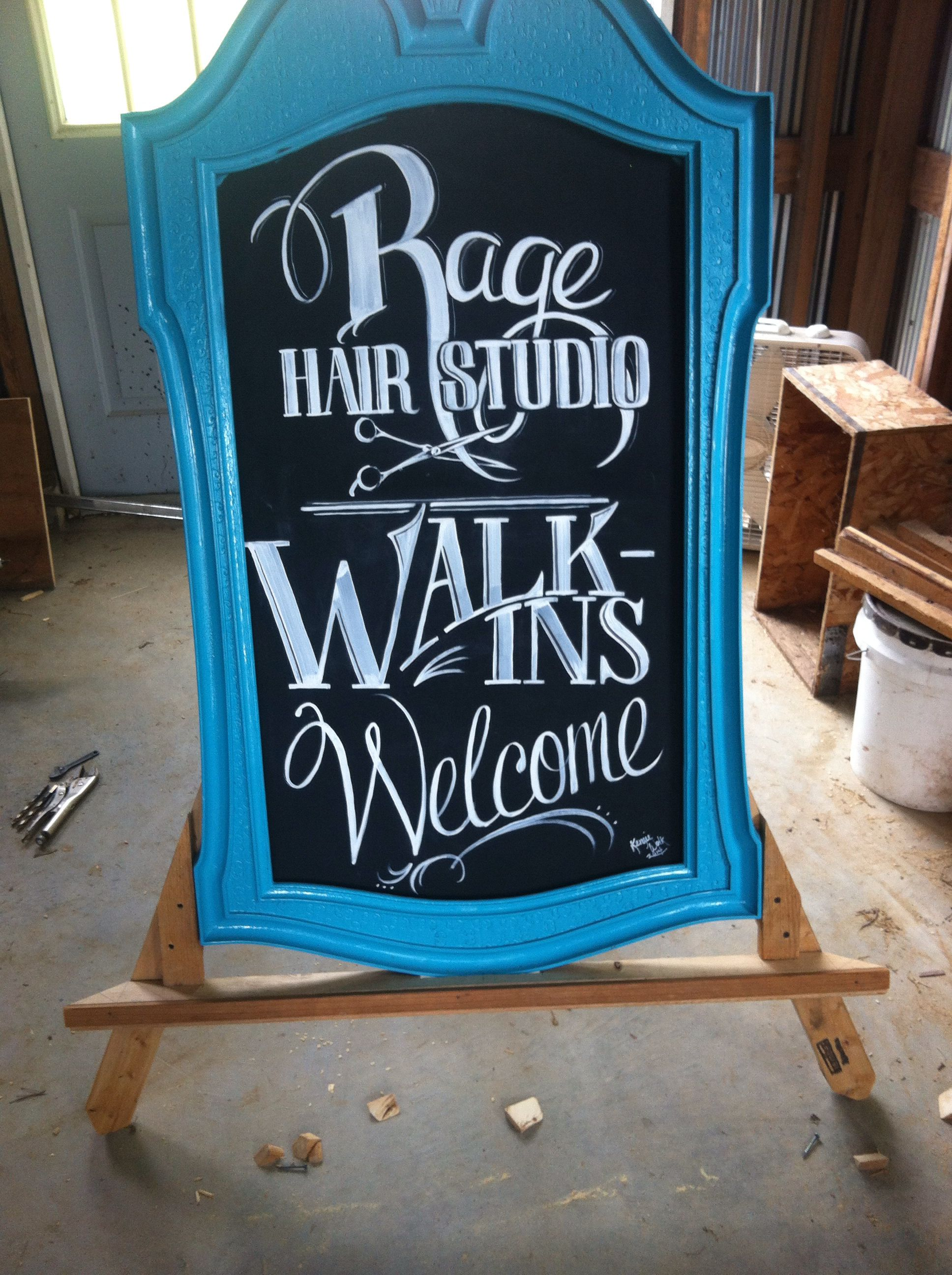 Old Mirror Turned Sidewalk Sign Hair Salon Advertising From