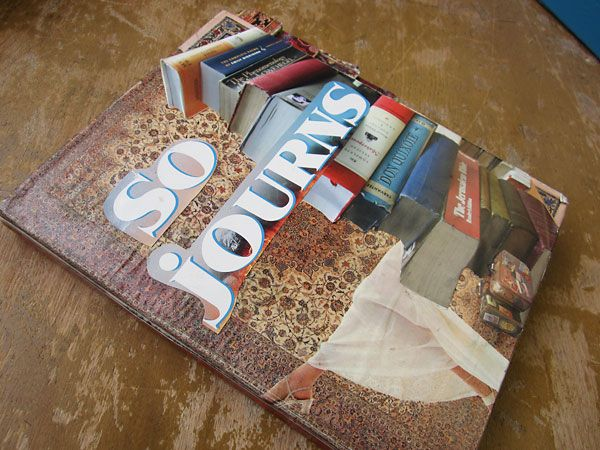"""Second place winner in the Adult division for our 2013 UNBOUND Book Art & Craft Contest - Allyson Rickard's """"So Journs: Adventures in Books,"""" created from an altered board book collaged with images.  Book used: Multiple.  See more of Allyson's work at http://www.allysonrickard.com."""