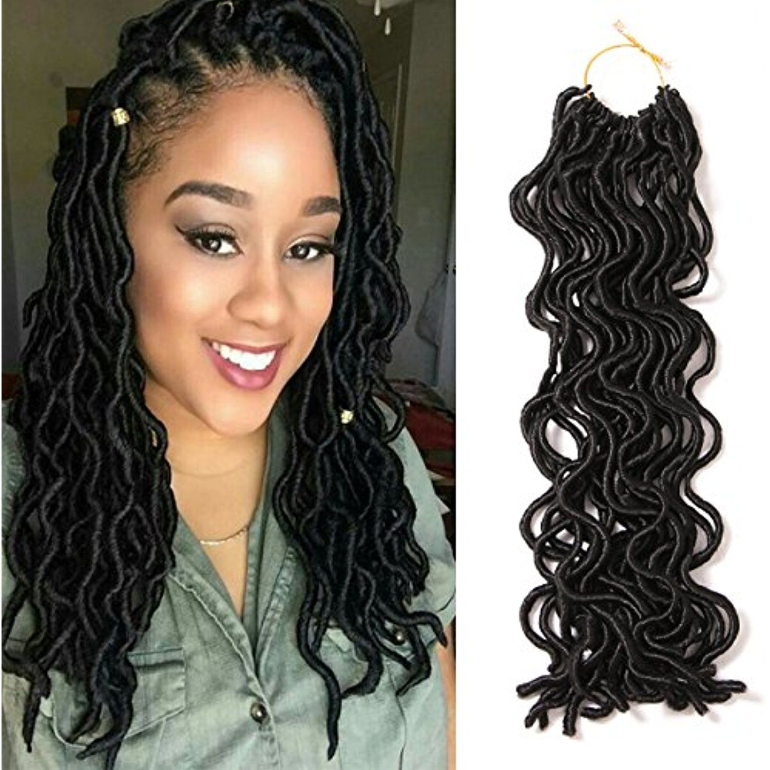 packslot faux locs curly crochet hair roots