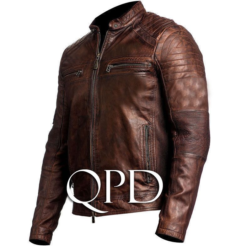 Brown Jacket Cafe Biker Leather Mens Motorcycle Bikei Racer Real wUOpcH