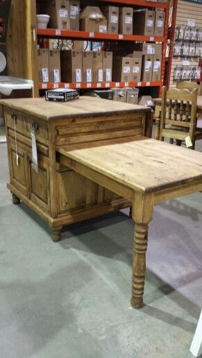 Butcher block island with slide out table and drop down for Pull down kitchen table