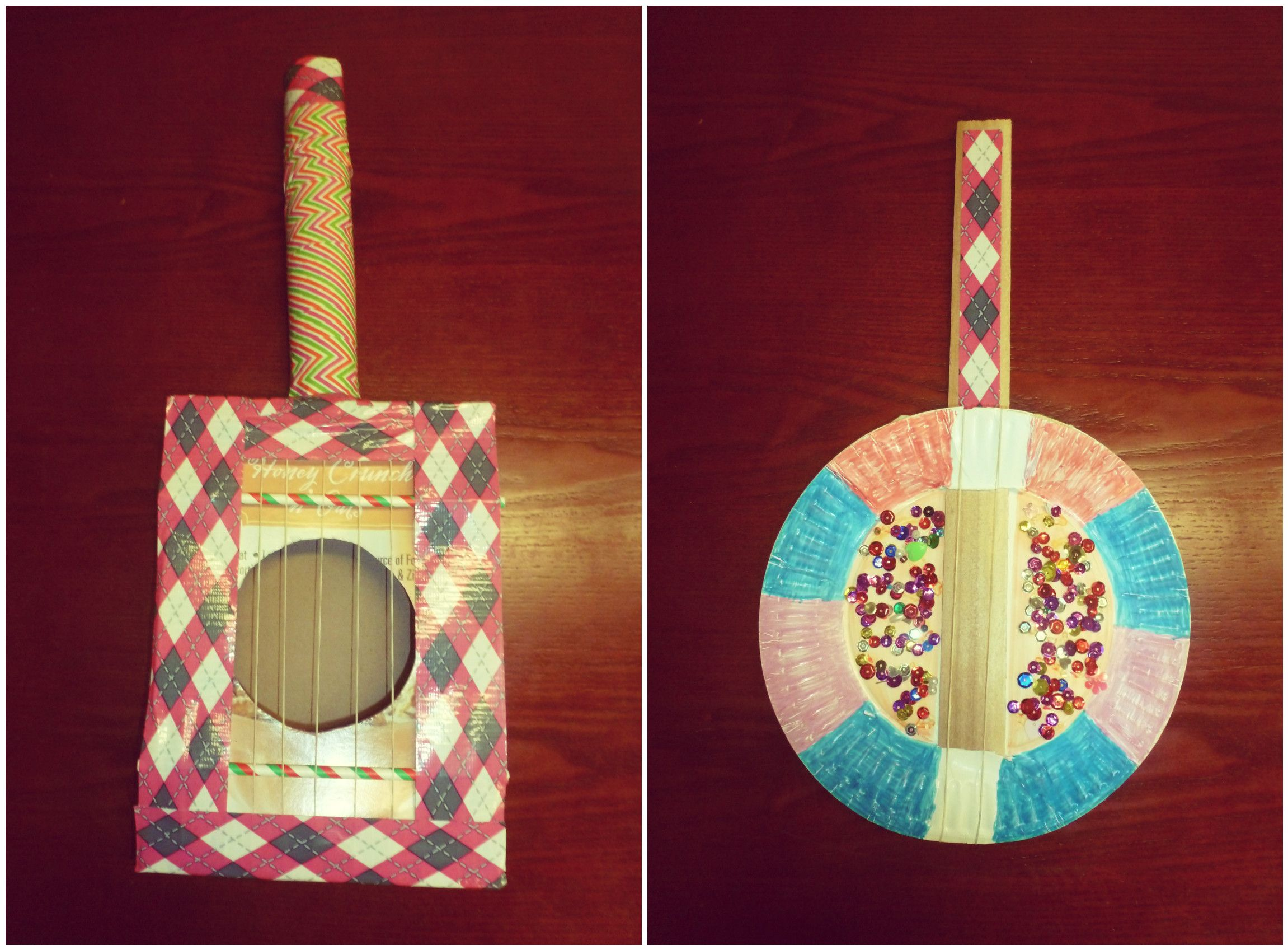 How to make a simple cereal box guitar for kids kids guitars musical instruments left cereal box guitar right paper plate banjo ages ccuart Image collections