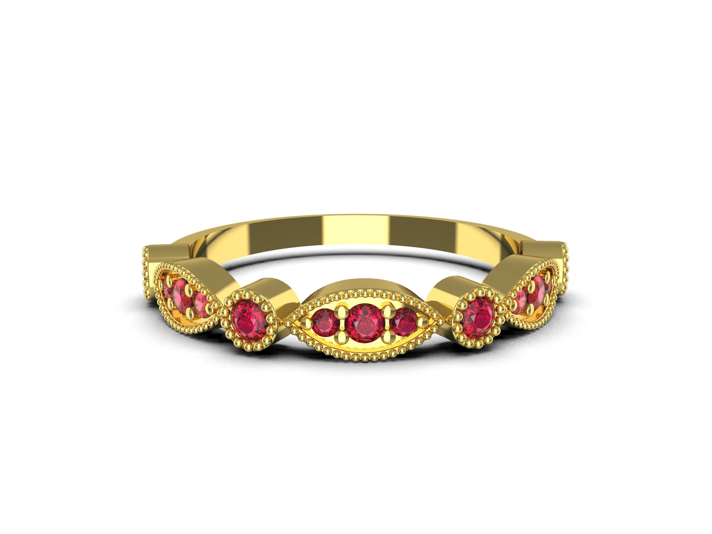Vintage Wedding Band / 14k Solid Gold Art Deco Ruby Wedding Ring / Marquise Matching Band / Anniversary Ring / Stackable Diamond Ring/ surprised your love with this beautifull ruby ring ... ------------------------------------------------------------------------------------------- item description - stone - natural ruby shape - round colour - red clarity - transparent size - 1.80 mm and 1.30 mm sizes weight - 0.28 ctw total pieces - 13 treatment - no any treatment ( certificate included with ite