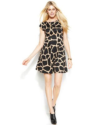 a5c0e74d73b1 MICHAEL Michael Kors Cap-Sleeve Animal-Print Dress Animal Print Dresses