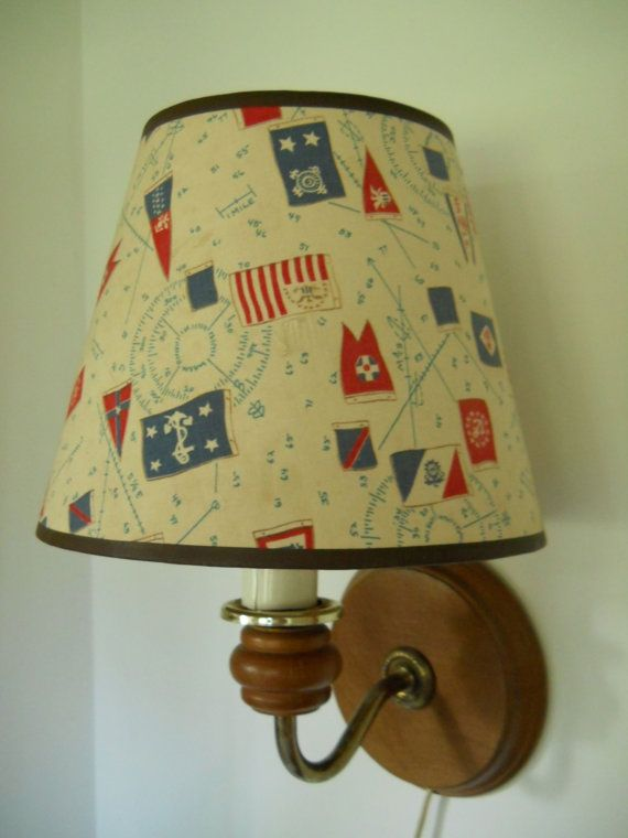 Vintage Wall Lamp Sconce With Fun Nautical Lamp Shade Nautical Lamps Nautical Lamp Shades Sconce Lamp